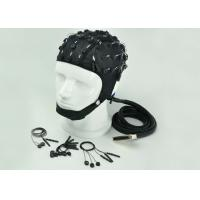 China Neuroscan Compatible EEG Electrode Cap Blue Black Cap Color 32 / 64 /128 Channel wholesale