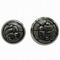China Antique silver ABS shank button for garments/coats, nickel- and lead-free are available wholesale
