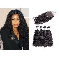 China 4 Pcs Brazilian Water Wave Hair Bundles With Closure Double Sewed Weft wholesale