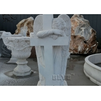 China Marble Crying Angel Tombstone White Cemetery Natural Stone Hand Carved wholesale
