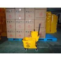 China 36L single mop bucket and wringer yellow mop wringer trolley wholesale