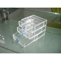 China Acrylic Storage Boxes, PMMA Jewelry Drawer Box With Green Handle wholesale