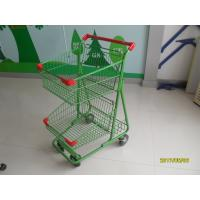 China Two Basket Grocery Shopping Trolley Wire Shopping Cart 656x521x1012mm wholesale