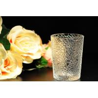 China 8oz decorations clear candle holders , glass candle cups Leaf Pattern wholesale