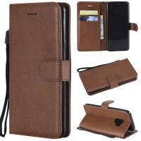 China Samsung S9 Pure Color Leather Wallet Protective Case with Card Slots on sale