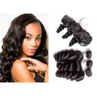China Virgin 3 Bundles Loose Wave Hair Weave With Lace Frontal 12-24 Inches wholesale