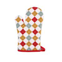 China Hand Protective Cotton Oven Mitts , Christmas Pattern Printed Kitchen Mitts Gloves wholesale