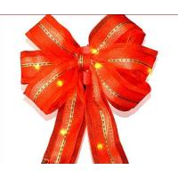 Quality 9 Inch Organza Gold Red Decorative LED Christmas Bow with Dual Color LED Lights for sale