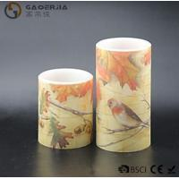 China Eco Friendly Birds Paradise Water Sticker Flameless Led Candles With Flat Edge wholesale