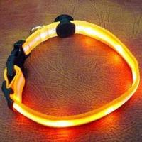 China 6-piece LED Light Flashing Safe Nylon Pet Dog Collar with 40 to 60cm Adjustable Length Dog Collar wholesale