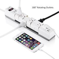 China 6 Outlets180 Rotatable Electrical Power Strip Surge Protector with Dual 3.4A Smart USB Ports wholesale