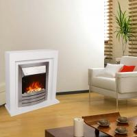 China electric fireplace suite  stove heater  NDY-19ERI-E White MDF mantel remote control LED flame effect room heater wholesale