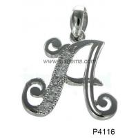 Quality Wedding Simple Letter 925 Silver Gemstone Jewelry With White Topaz Stones for sale