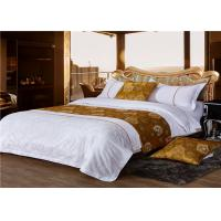 China King Size Hotel Bed Linen Satin White 400T And Gold Yellow Inlay With 100% Cotton wholesale