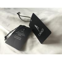 China Both Side Silver Logo Art Paper Clothing Hang Tags With Black Waxed Cord wholesale