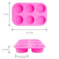 China 2 Pack Silicone round Muffin Pan, 6 Cup Baking Tin Non-Stick Bakeware mold for Cupcakes Puddings wholesale