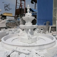 China Large Marble Horse Water Fountain Sculpture Animal Fountains Garden Decoration wholesale