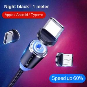 China 1M Cell Phone 3 In 1 Magnetic Braided Charging Micro Magnetic Usb Cable High Quality 3 in1 Fast Charger Cable Line wholesale