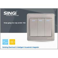 Buy cheap GNW56BK Long Lifespan 3 gang 2 way wall switch with led indicator light, 16A from wholesalers