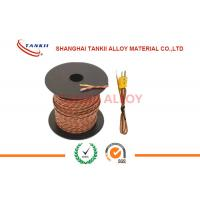 China 20 AWG 24 AWG brown color Thermocouple Extension Wire / Cable Type K J T E S With 2 Core Unscreened Teflon Sheath wholesale
