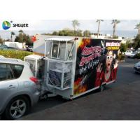 China Trailer Mobile 5D Cinema Black / Red Luxury Chair with Complete Special Effect Machine wholesale