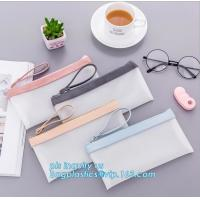 China clear vinyl TPU pencil case bag with zipper for boys girls, Creative contracted envelope bag translucent frosted pencil wholesale