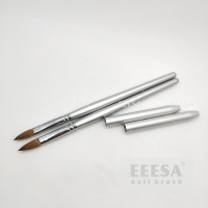 China Size #8 10 Silver Sable Kolinsky Hair Wooden Nail Brush Brass Ferrule wholesale