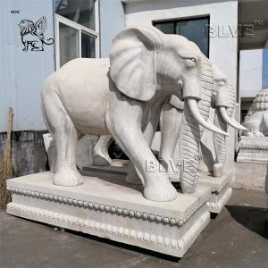 China White Marble Elephant Statue Large Stone Garden Animals Sculpture wholesale