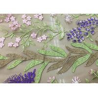 China Soft Embroidered Tulle Coloured Lace Fabric , Women Dresses Lace Clothing Fabric wholesale