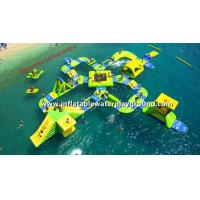 China Resort Floating Inflatable Amusement Park 0.9mm PVC Tarpaulin For 65 People wholesale