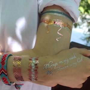China OEM Fake Flash Gold Foil Body Hand Sticker Custom Metallic Temporary Tattoo wholesale
