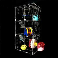 China hot sale New style clear square household 3 steps acrylic hamster cage for sale with available price wholesale