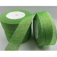 China Fancy Green Glitter Ribbon High Durability Solid Color Patterned Custom Width wholesale