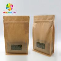Window Kraft Paper Bags Zipper Top Sealing Customized Color For Food Packaging