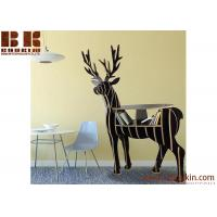China DIY laser cut item supplies wood reindeer arts and craft Animal bookshelf wooden craft coffee table home decor on sale