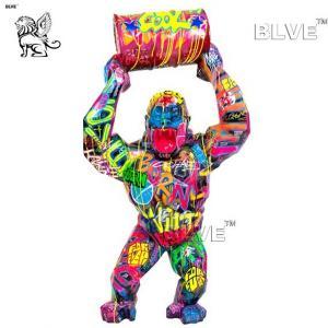 China Colour Spraying Resin Gorilla Sculpture Life Size Fiberglass Cartoon Statues wholesale