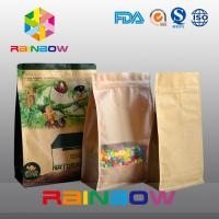 China Customized Stand Up Kraft Paper Bag , Flat Bottom Guesst Bag For Dry Food / Candy With Zipper wholesale