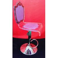 Quality High Grade Crystal Acrylic Bar Chair With Rolling Base For Gift , Colorful for sale