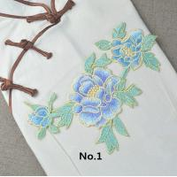 China Custom Colorful Embroidered Tulip Floral Applique Patches Self Adhesive 22.5 CM X 16 CM wholesale