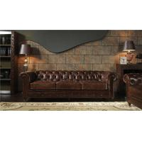 Buy cheap Oversized Top Grain Leather Sofa , Modern 3 Seater Leather Sofa Brown Long Lifespan from wholesalers