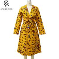 China Yellow Star Knee Length African Print Dresses For Autumn / Spring / Summer wholesale