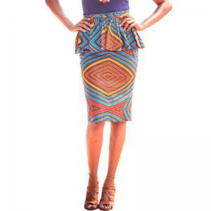 China Summer Dashiki Batik African Print Skirts High Waist Pencil Knee Length Pure Cotton wholesale