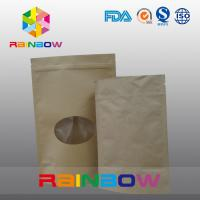 Customized Size Plain Brown Zipper Top Kraft Paper Bags For Pepper Snack With