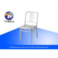 Quality Durable Armless Outdoor Stackable Aluminum Navy Chair , Aluminum Dining Chairs for sale