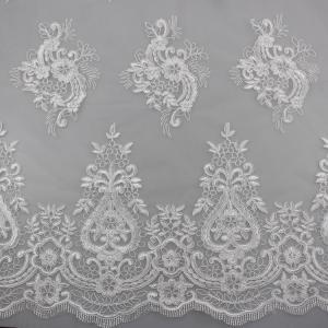 China 3D Eyelash Polyester Yarn On Nylon Mesh Corded Embroidery Lace Fabric For Bridal wholesale