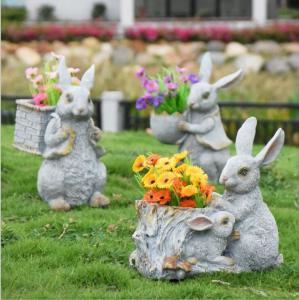China Polyresin Garden Animals Flower Pots Decorative Rabbit garden planter on sale