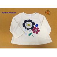 China Long Sleeve Childrens Plain White T Shirts Crew Neck Screen Print For Girls on sale