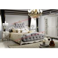 China Luxury Upholstery Fabric Headboard Padding with Solid Wood Bed in Ivory White Painting wholesale