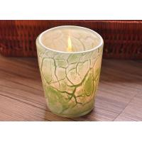 China Create modern glass candle holders green leaf pattern , 280ml Capacity wholesale