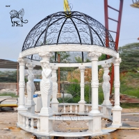 China Large Marble Gazebo Woman Statues Garden Pavilion Metal Roof Hand Carved Outdoor Decoration wholesale